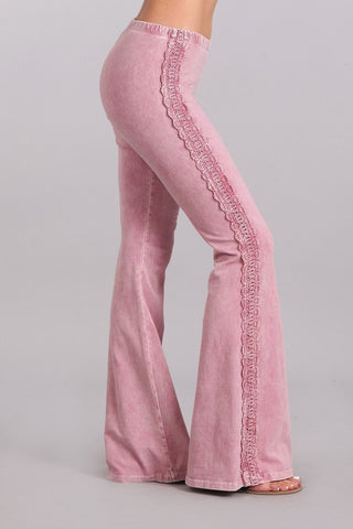 Crochet Side Lace Bell Bottoms Rose Pink