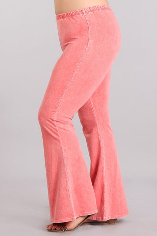 Chatoyant Plus Size Mineral Wash Bell Bottoms Peach
