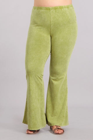 Chatoyant Plus Size Mineral Wash Bell Bottoms Pear