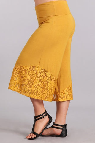 Chatoyant Plus Size Fold Over Waist Lace Gauchos Mustard