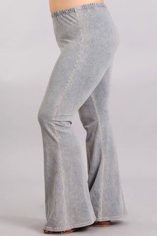 Chatoyant Plus Size Mineral Wash Bell Bottoms Silver