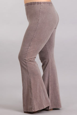 Chatoyant Plus Size Mineral Wash Bell Bottoms Desert Taupe