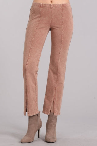 Chatoyant Mineral Wash Cropped Pants Honey Taupe