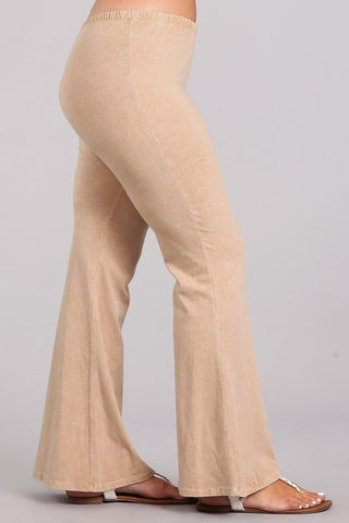 Chatoyant Plus Size Mineral Wash Bell Bottoms Beige