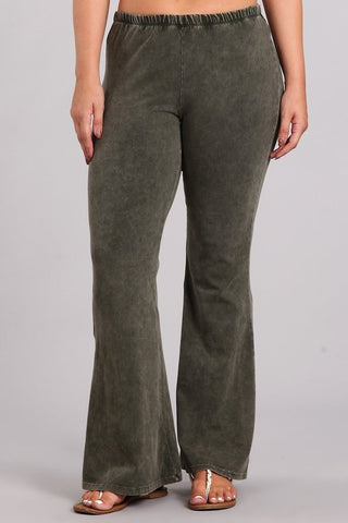 Chatoyant Plus Size Mineral Wash Bell Bottoms Dark Moss