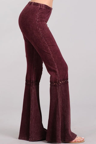 Chatoyant Mineral Wash Lace Thermal Bell Bottoms Burgundy