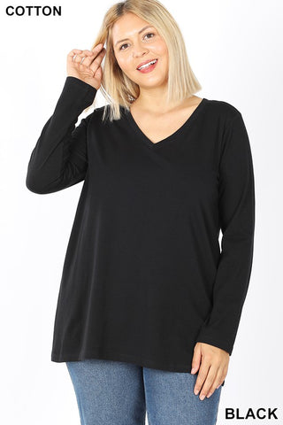 🌻 Plus Size Long Sleeve V-Neck Cotton Tees 5 Colors!
