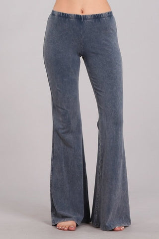 Chatoyant Mineral Wash Bell Bottoms Blue Gray