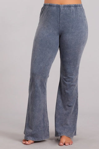Chatoyant Plus Size Mineral Wash Bell Bottoms Blue Gray