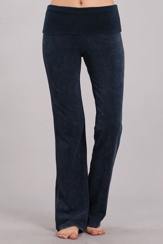 Chatoyant Bootcut Mineral Wash Fold Over Waist Pants Charcoal Navy