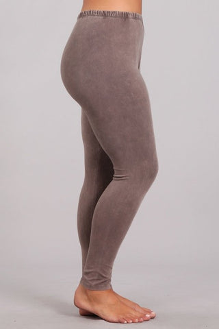 Chatoyant Plus Size Mineral Wash Leggings Desert Taupe