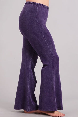 Chatoyant Plus Size Mineral Wash Bell Bottoms Grape
