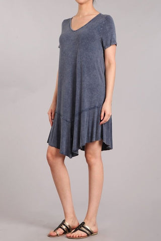 Chatoyant Mineral Wash Dress Blue Gray