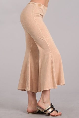 Chatoyant Mineral Wash Cropped Flare Bells Beige