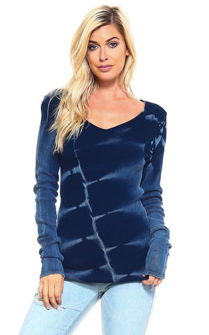 UrbanX Tie Dye Thermal Top Navy