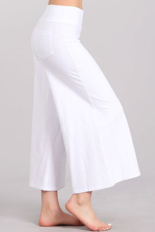 Chatoyant Mineral Wash Cropped Wide-Leg Pants White