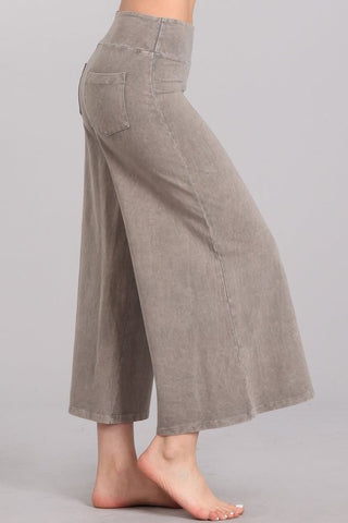 Chatoyant Mineral Wash Cropped Wide-Leg Pants Stone