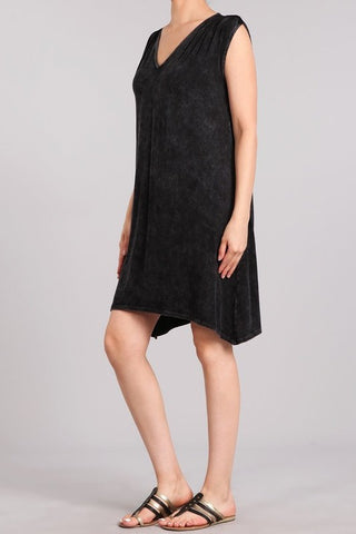 Chatoyant Mineral Wash Tank Dress Black