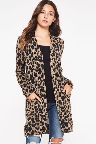 Animal Print Sweater Cardigan