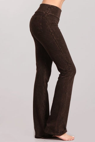Chatoyant French Terry Mineral Wash Boot Cut Pants Brown