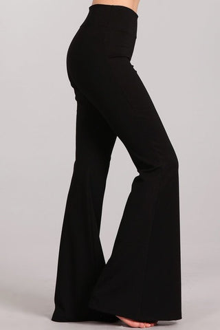 Chatoyant Ponte Flare Bell Bottoms Black