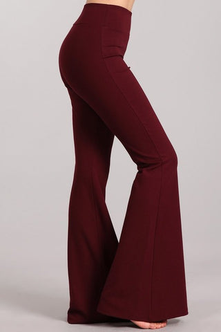 Chatoyant Ponte Flare Bell Bottoms Wine