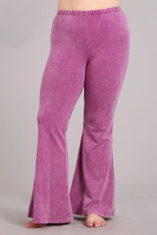 Chatoyant Plus Size Mineral Wash Bell Bottoms Magenta Haze