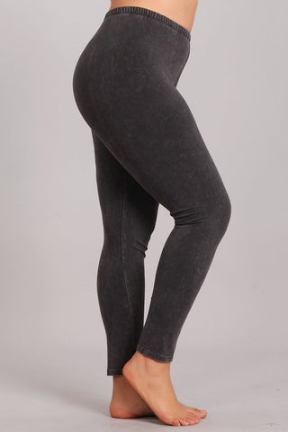 Chatoyant Plus Size Mineral Wash Leggings Dark Ash Gray