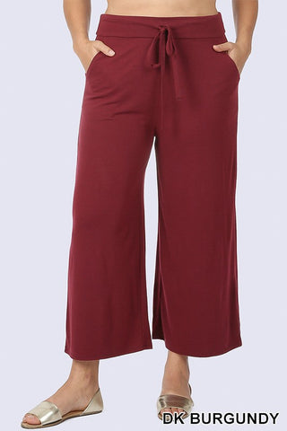 Plus Size Cropped Lounge Pants with Side Pockets Dark Burgundy