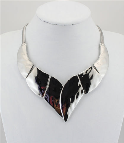 Polished Rhodium Statement Necklace