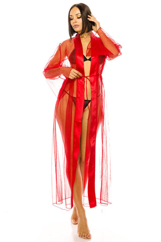 Barbados Cherry Long Sleeve Mesh Robe