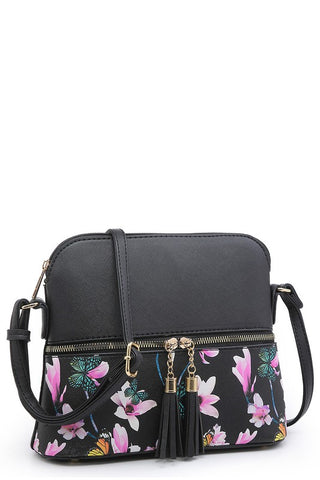 Flower Butterfly Color Block Tassel Crossbody
