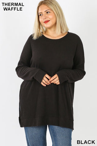 Plus Size Brush Thermal Waffle Sweater