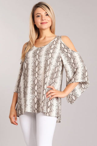 Chatoyant Snakeskin Print Open Shoulder Top