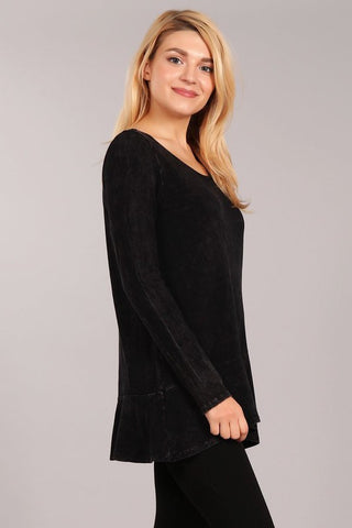 Chatoyant Soft and Stretchy Mineral Wash Tunic Black
