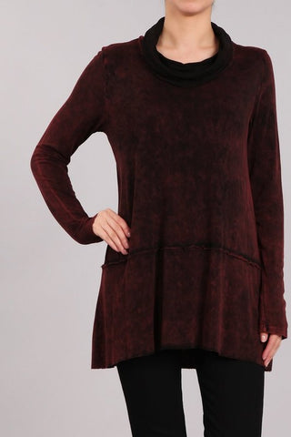 Chatoyant 2 Tone Mineral Tunic Top Wine and Black