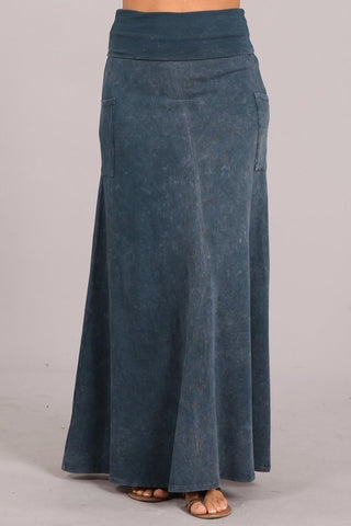 Chatoyant Mineral Wash Skirt Blue Gray