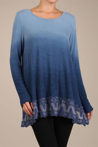 Chatoyant Ombre Dyed Tunic Top With Lace Blue