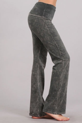 Chatoyant Bootcut Mineral Wash Fold Over Waist Pants Taupe Gray