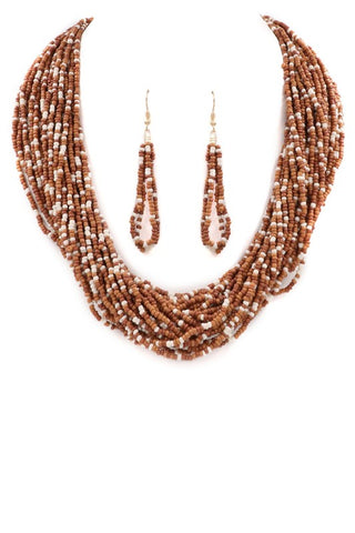 Layered Sea Beads Necklace and Earrings Set Brown