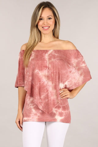 Chatoyant 4 Way Hand Marble Mauve Tie Dye Top