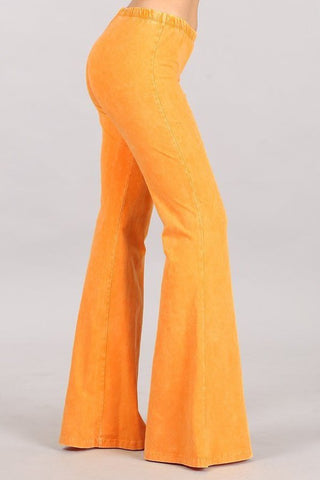 Chatoyant Plus Size Mineral Wash Bell Bottoms Tangerine