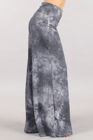 Chatoyant French Terry Tie Dye Lounge Palazzo Pants Grey
