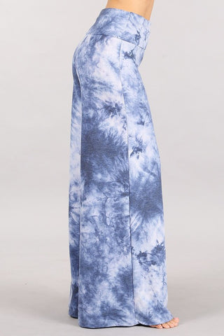 Chatoyant Plus Size French Terry Tie Dye Lounge Palazzo Pants Blue