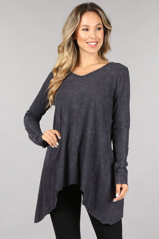 🍁 Chatoyant Soft and Stretchy Mineral Wash Long Sleeve Tunic Dark Ash Grey🍂