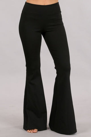 Chatoyant Plus Size Ponte Flare Bell Bottoms with Pockets Black