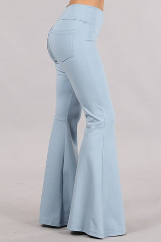 Chatoyant Plus Size Ponte Flare Bell Bottoms with Pockets Cool Blue