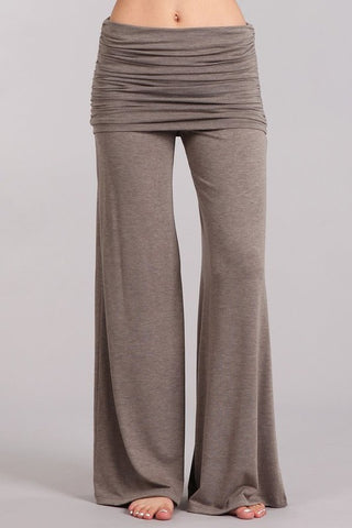 Chatoyant Wide Leg Fold Over Pants Taupe Brown