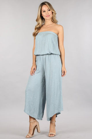 Chatoyant Embroidered Strapless Cropped Jumpsuit