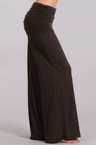 Chatoyant Wide Leg Fold Over Pants Dark Chocolate